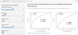 A Shiny App for estimating Multiplier Exponent Curves from Manning's Equation Inputs
